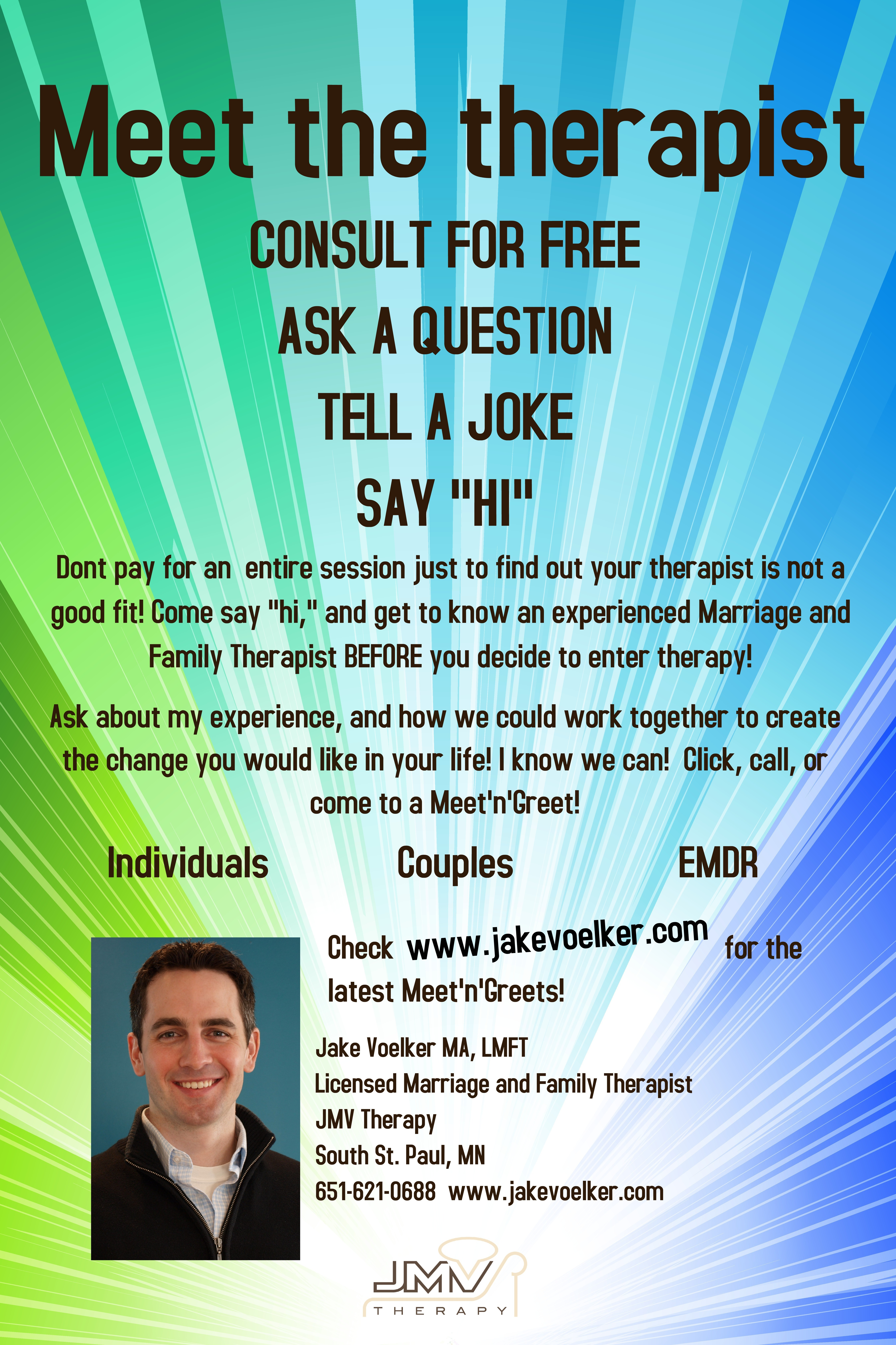 Meetngreets and questions to ask your potential therapist jmv meet n greet poster kristyandbryce Choice Image